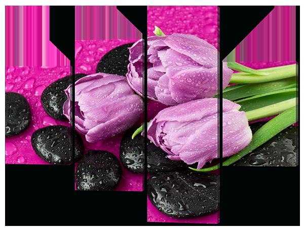 Модульна картина Ніжні тюльпани на каменях 120*96,5 см Код: 480.4 120 к.