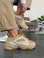 Женские кроссовки Nike M2K Tekno Linen Wheat Ale Brown Найк М2К Текно коричневые