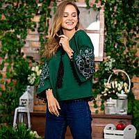 Женская блуза MEREZHKA с вышивкой Этностиль зеленая размер 2XL