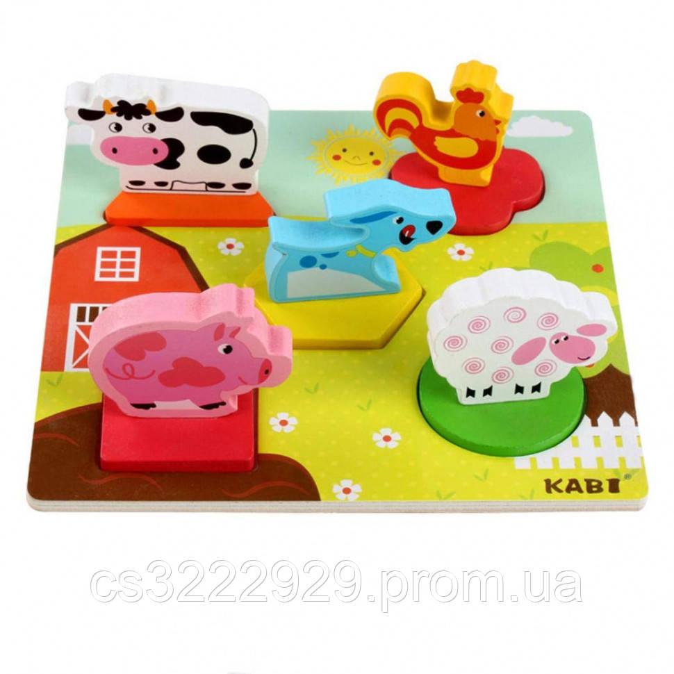Деревянная игрушка Рамка-вкладыш MD 1508 (Домашние животные)