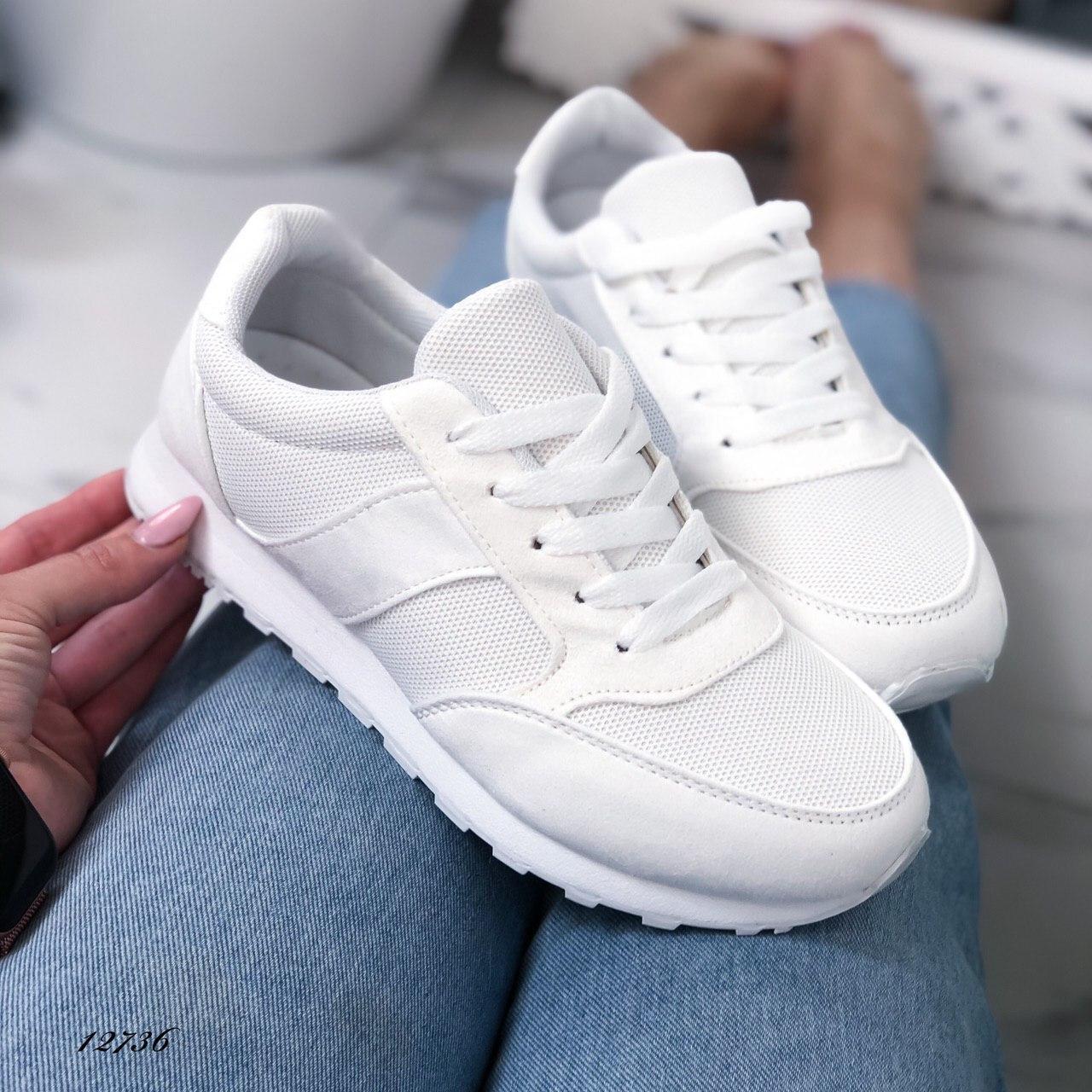 Женские кроссовки из текстиля и эко-замши белые