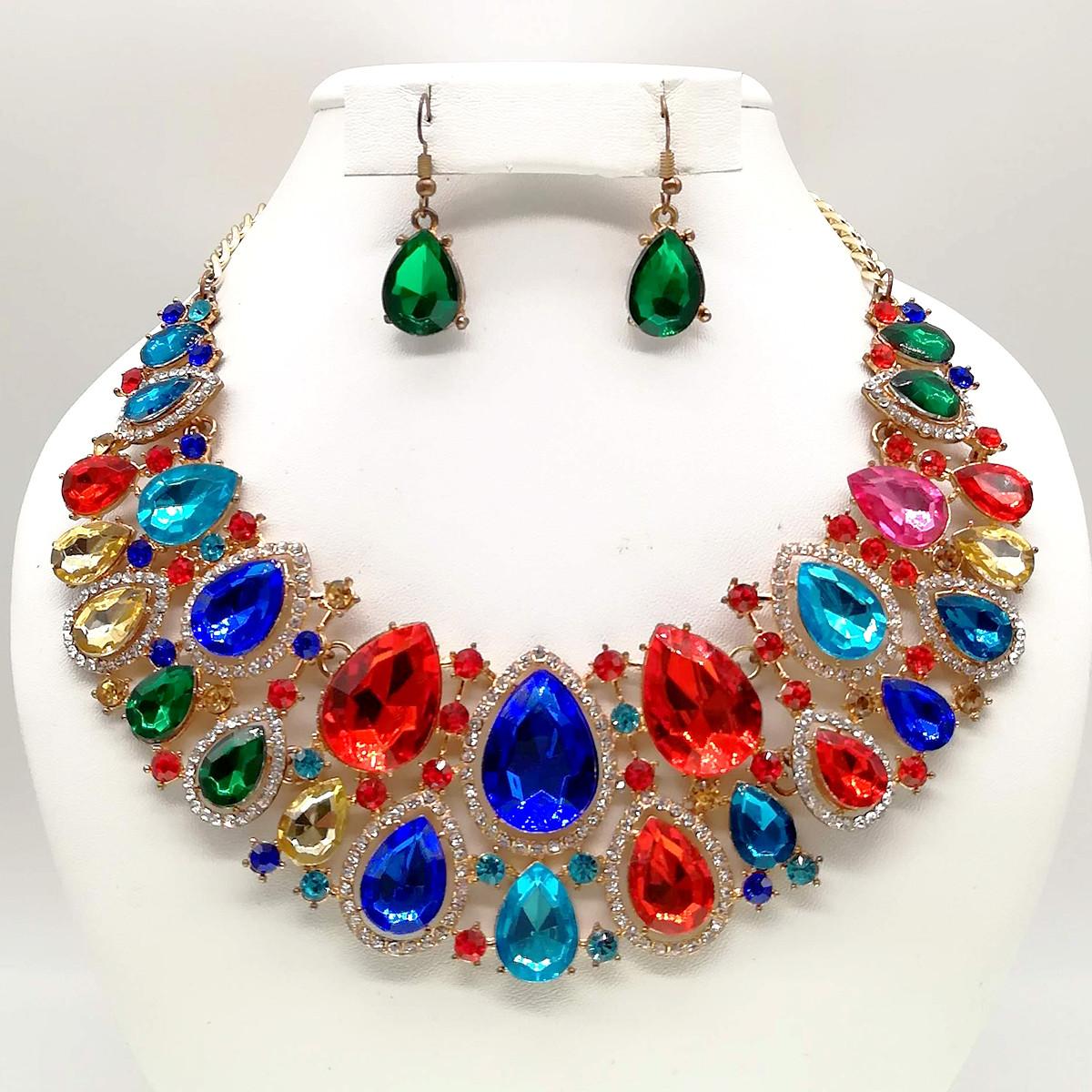 Комплект SONATA (Колье + серьги), разноцветные камни, позолоте 18К, 63250                      (1)