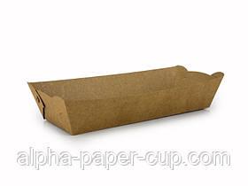 Тарелка 250*100*45 мм крафт длинная без ламинации, 100 шт/уп, 9 уп/ящ.