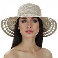 Оригинальная женская шляпа летняя Del Mare бежевая 005-10