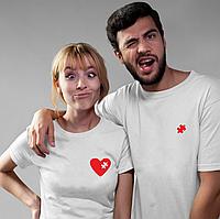 Парные футболки. Футболки для влюбленных. Пазл сердца