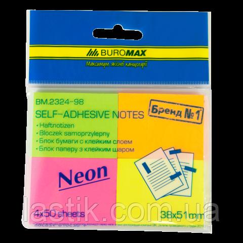 Блок бумаги для записей NEON, 38х51мм, 4 цв. по 50 л.