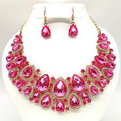 Комплект SONATA (Колье + серьги), розовые камни, позолота 18К, 63269                      (1)