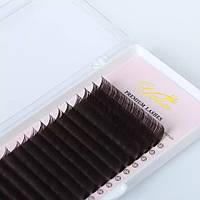 """Вії темний шоколад """"YELIX"""", мікс 10-11-12-13 мм"""