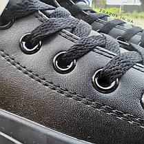 Чоловічі високі кеди конверси converse all star еко - шкіряні чорні демі демисезон, фото 2