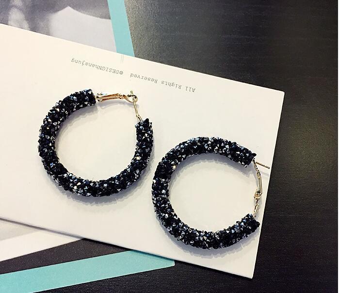Серьги/сережки конго  круглые с блестящими кристалами «Night star» (черный)