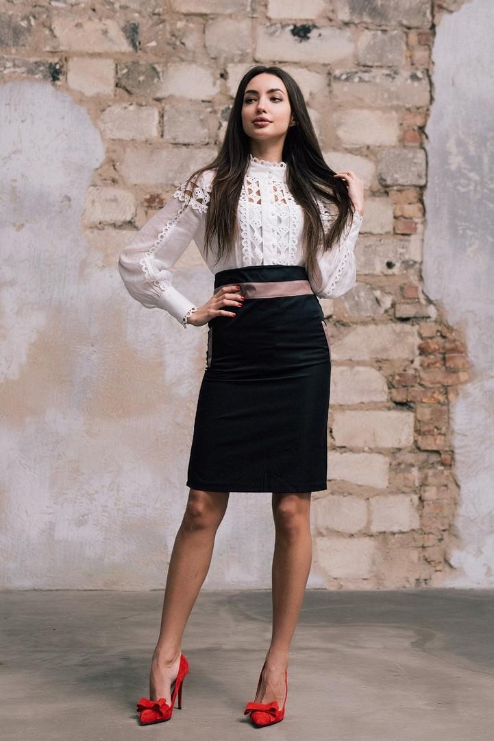 """Стильная офисная юбка-карандаш """"MONTREAL"""" с контрастными вставками (2 цвета)"""