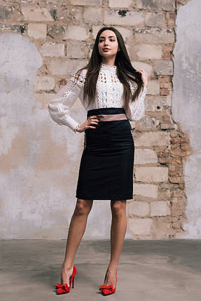 """Стильная офисная юбка-карандаш """"MONTREAL"""" с контрастными вставками (2 цвета), фото 2"""