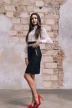 """Стильная офисная юбка-карандаш """"MONTREAL"""" с контрастными вставками (2 цвета), фото 3"""