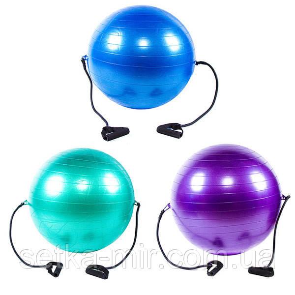 Мяч фитнес (Anti-burst) с эспандером, D65см, IronMaster, цвета в ассортименте