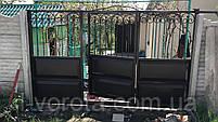 Откатные ворота с калиткой в полотне ворот 3200*2000 (филенчатые с элементами художественной ковки), фото 2