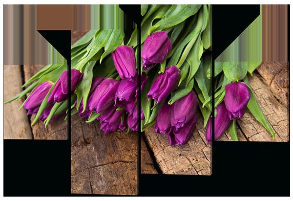 Модульная картина Тюльпаны цвета фуксии 126*85 см  Код: W449M