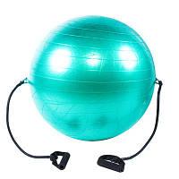 Мяч фитнес (Anti-burst) с эспандером, D65см, IronMaster, цвета в ассортименте Салатовый