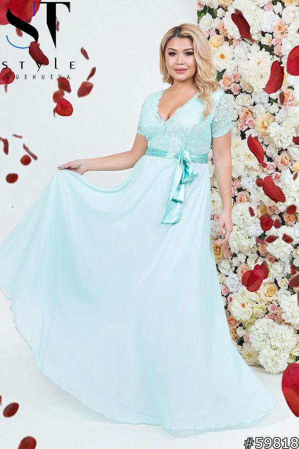 Жіноча вечірня сукня з гипюровым верхи шифоновою спідницею розміри 48-52