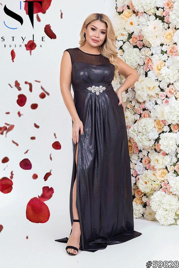 Длинное блестящее вечернее платье больших размеров 48-50, 52-54