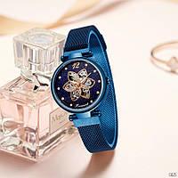 Часы с магнитными браслетами женские хорошего качества механические с автоподзаводом  Forsining 1171 All Blue