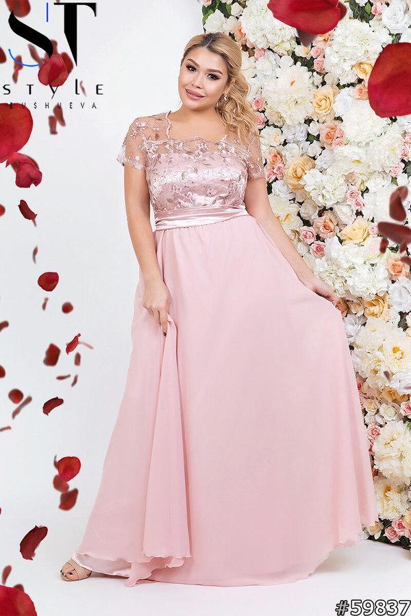 Женское вечернее платье с вышитым верхом размеры 50, 52, 54