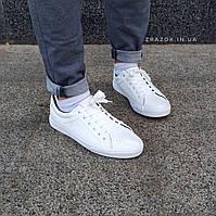 Белые кожаные кеды кроссовки деми перфорация демисезон мужские летние экокожа