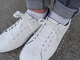 ПОСЛЕДНИЕ РАЗМЕРЫ 44, 45 Белые кожаные кеды кроссовки деми перфорация демисезон мужские летние экокожа, фото 2