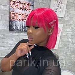 ❤️Натуральный розовый парик. Каре с ярко розовыми волосами💟