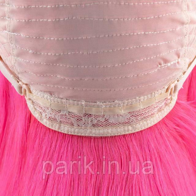 Натуральный розовый парик каре с розовыми волосами 1