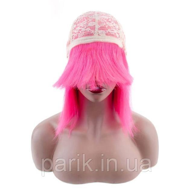 Натуральный розовый парик каре с розовыми волосами 2
