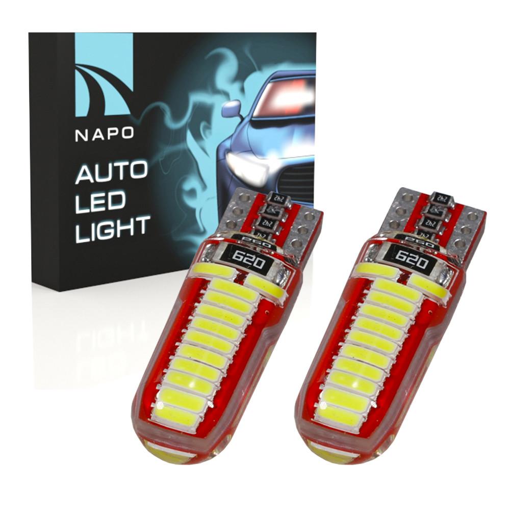 Лампа автомобильная LED T10-4014-24smd-silic.t10-037 W5W T10 комплект 2 шт цвет свечения белый