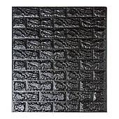 Самоклеюча декоративна 3D панель під чорний цегла 700х770х7мм Os-BG19