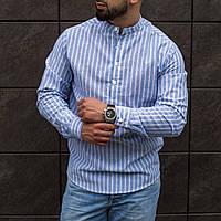 Рубашка мужская льняная в полоску Band x blue ТОП качества, фото 1