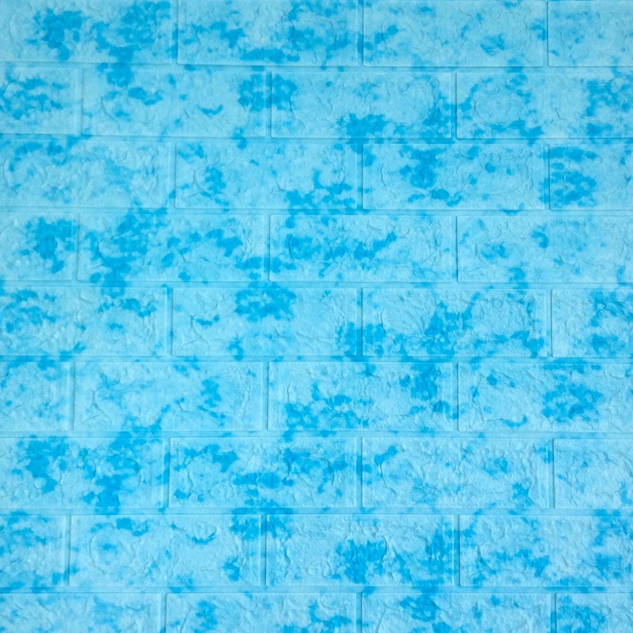 Самоклеюча декоративна 3D панель під цеглу блакитний мармур 700х770х7мм