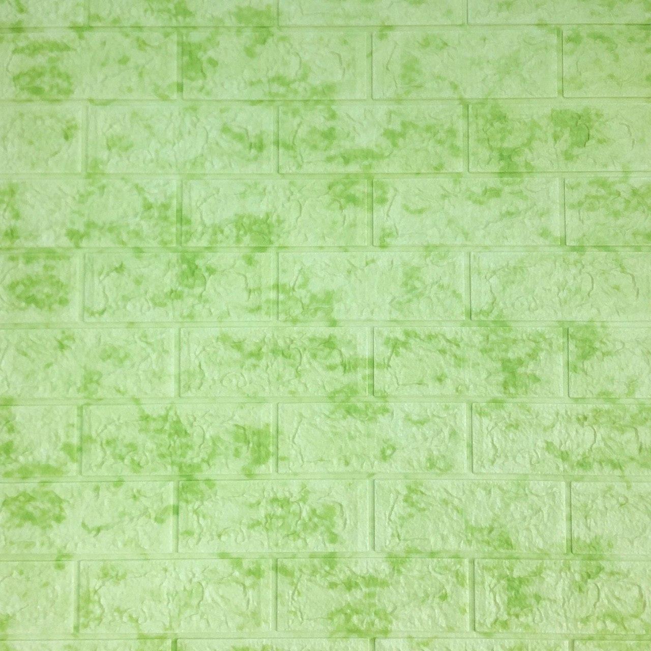 Самоклеющаяся декоративная 3D панель под кирпич салатовый мрамор 700x770x7мм