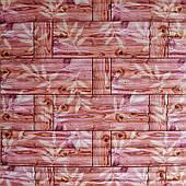 Самоклеюча декоративна 3D панель бамбукова кладка помаранчева 700х700х8мм