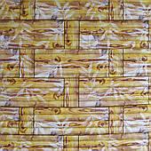 Самоклеюча декоративна 3D панель бамбукова кладка жовта 700х700х8мм