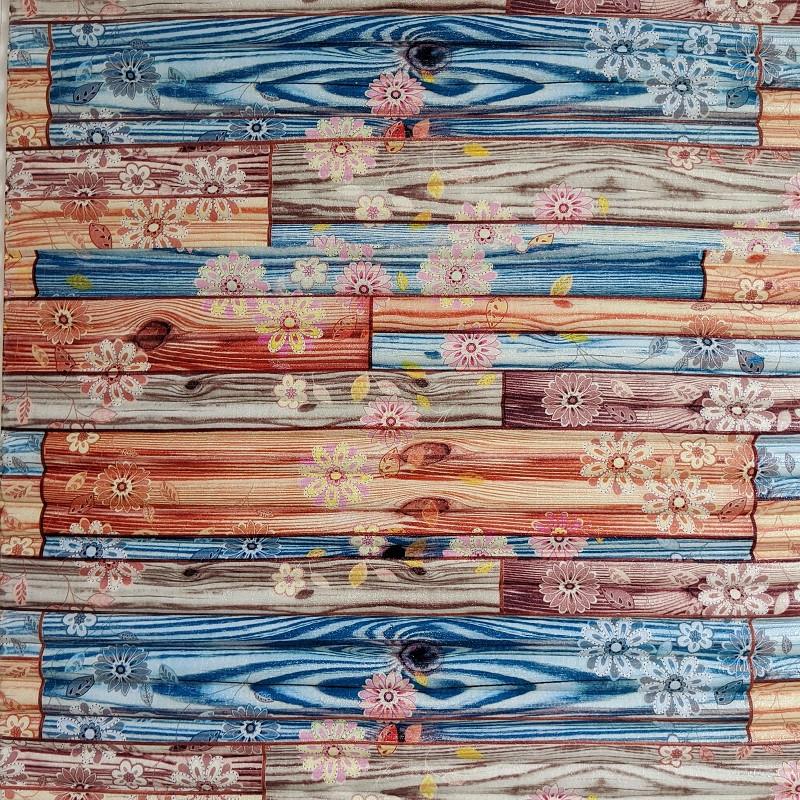 Самоклеюча декоративна 3D панель бамбук квіти 700х700х8мм