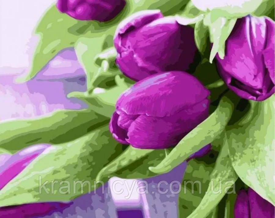 Картина по номерам 40х50 Тюльпаны на столе (GX21540)