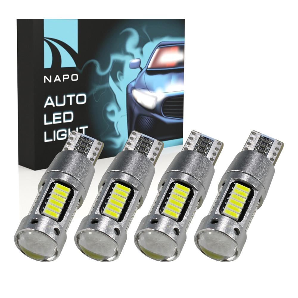 Лампа автомобильная LED T10-4014-30smd-can.10114 W5W T10 комплект 4 шт цвет свечения белый