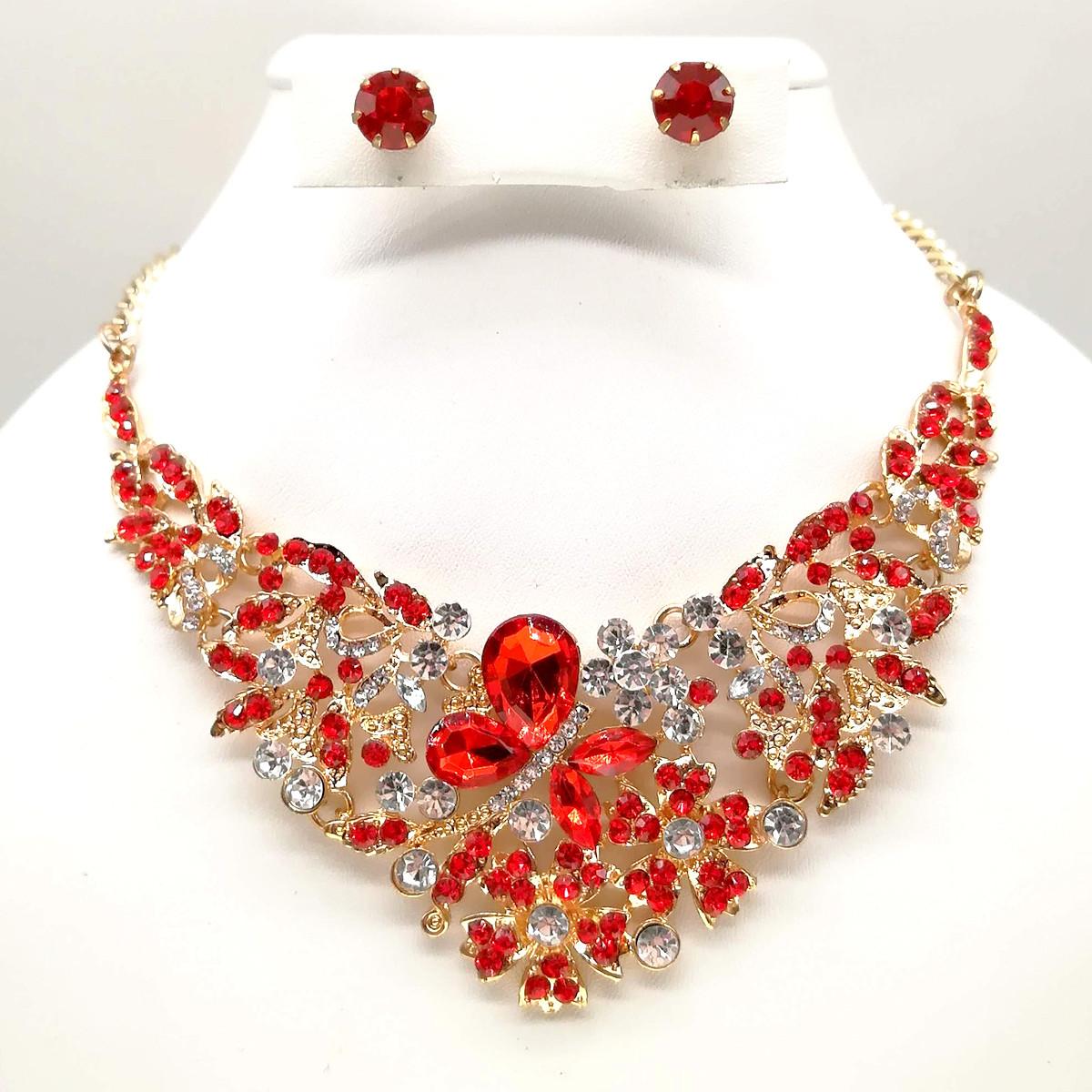 Комплект SONATA (Колье + серьги), красные камни, позолота 18К, 63249                                  (1)