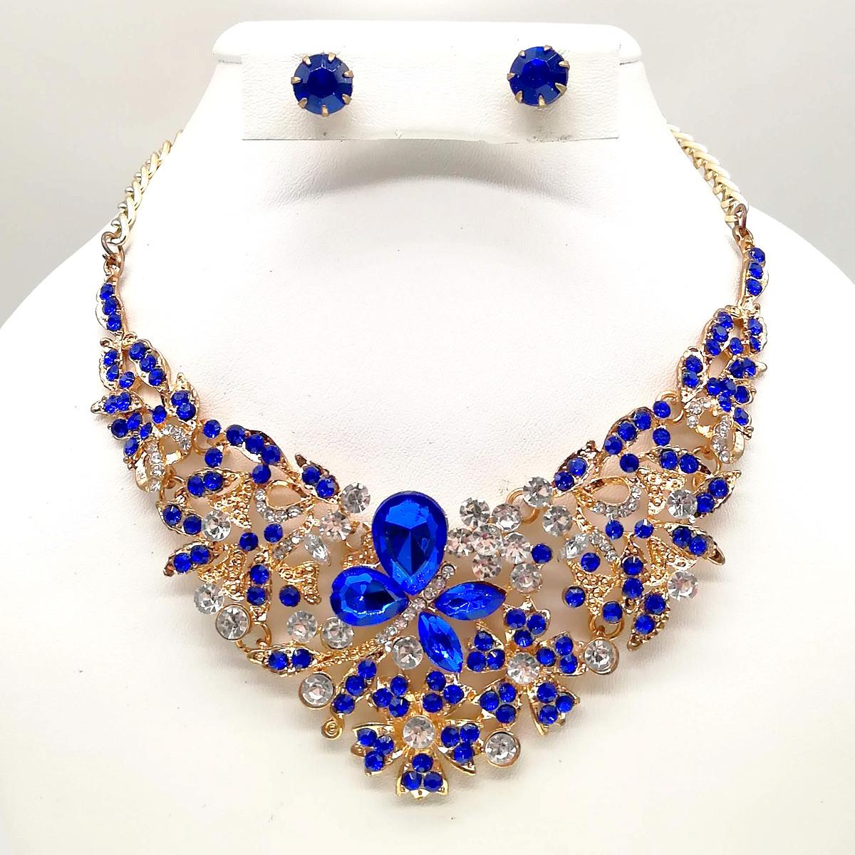 Комплект SONATA (Колье + серьги), синие камни, позолота 18К, 63251                                  (1)