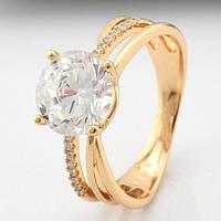 Кольцо Xuping Jewelry размер 19 с большим камнем медицинское золото позолота 18К А/В 5417