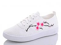 Легкие летние женские белые кеды из кожзама с вышивкой Сакура 1175269549