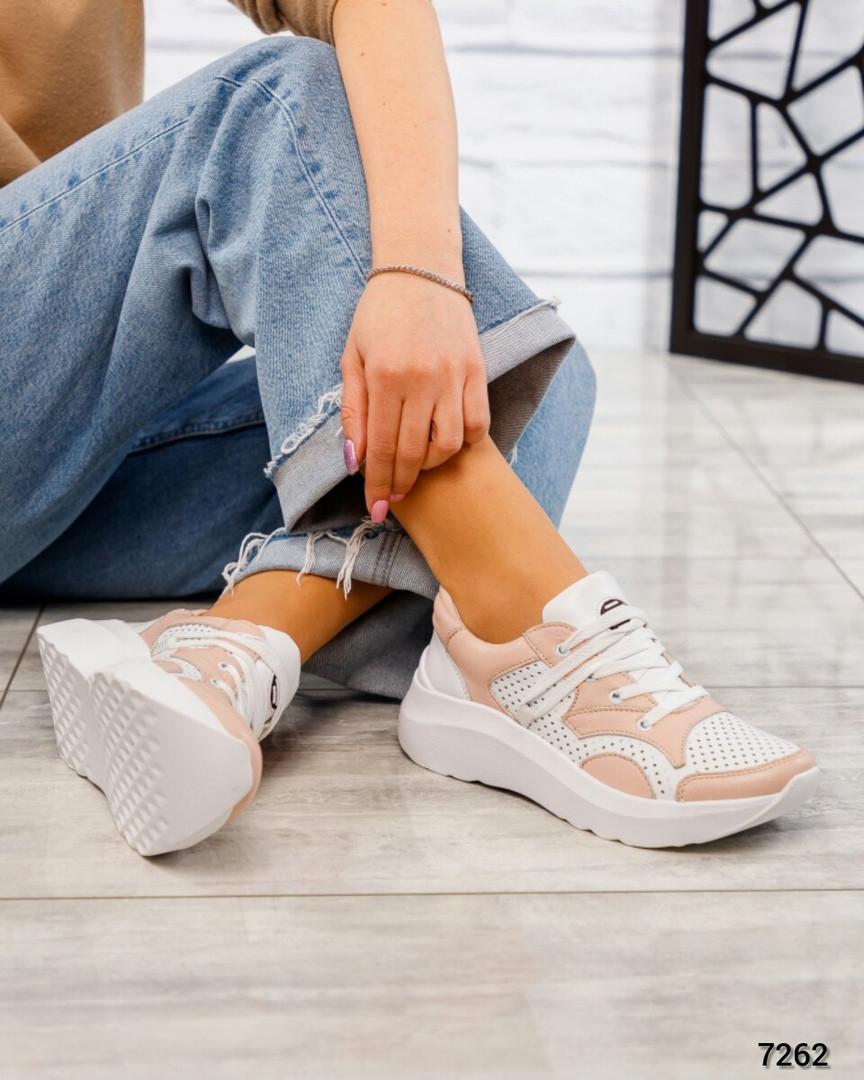 Кроссовки женские женские белые с вставками пудры