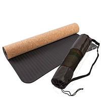 Коврик для йоги и для фитнеса TPE+Каучук+Пробка, 183х61х0,4см + Подарок