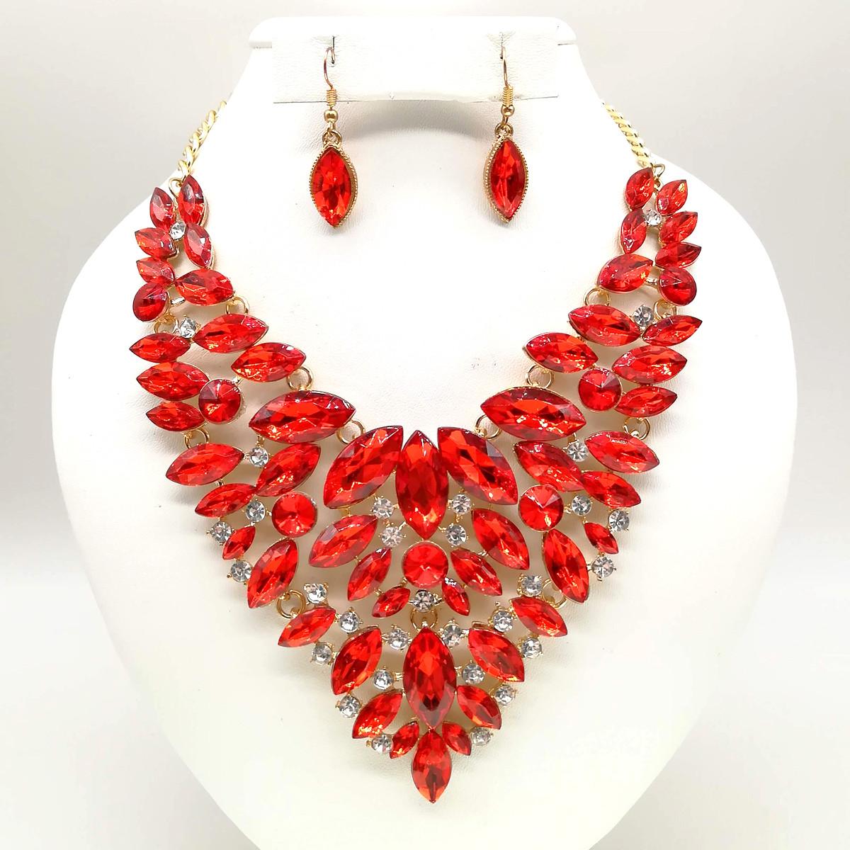 Комплект SONATA (Колье + серьги), красные камни, позолота 18К, 63228                                        (1)