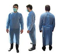 Халат одноразовый хирургический на завязках спанбонд голубой XL