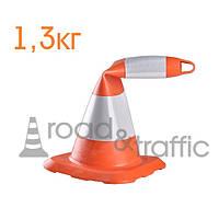 Конус дорожный гибкий Н-50 см (2 светоотражающие полосы) КДМ03
