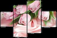 Модульная картина Нежные розовые тюльпаны 126*85 см  Код: W411M